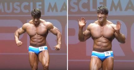 這名韓國帥猛男的胸肌面積大道已經看起來很「漫畫」了,一轉過身看到背面才知道還有更精采的!