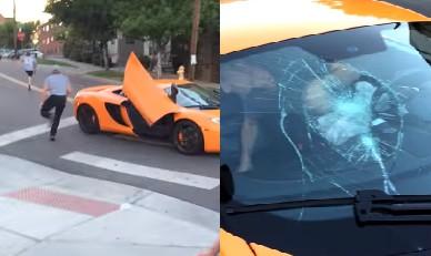 馬路上看到一台擋風玻璃被打爛的千萬超跑,乘客還衝出去追屁孩,但看到之前發生的事會讓你覺得應該再打多幾次!
