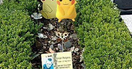 網友在墳墓上抓到皮卡丘讓網友都覺得惡趣味,但他說「這是我弟弟生前最喜歡的」時...