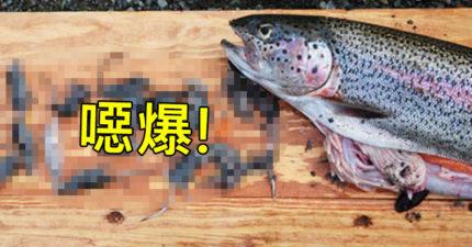 他在湖邊釣到幾條大魚還很開心覺得賺到了,沒想到一剖開魚肚看到內容物就深深地後悔了...