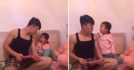 當爸爸跟女兒問說「媽媽太老了換個媽媽好不好」時,女兒強硬的超現實回應直接將爸爸打臉...