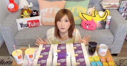日本超瘦大胃王正妹要挑戰吃下「150塊麥克雞塊」,她花的時間竟然比我吃10塊雞塊還快...