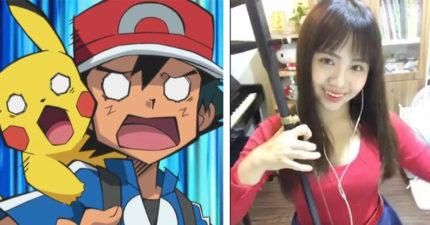 正妹不但用二胡拉出了經典Pokemon主題曲,「當拉出皮卡丘的叫聲時」我覺得這已經超越正常音樂了!