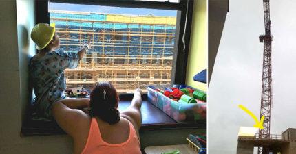 這間兒童醫院的住院病童都捨不得離開了,因為他們一看對面的工地就看到了「全世界最好玩的遊戲」!