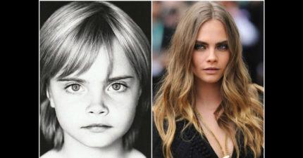 10個當代名模「年輕時vs.現在」照。證明真正最正的從小就看得出來了!
