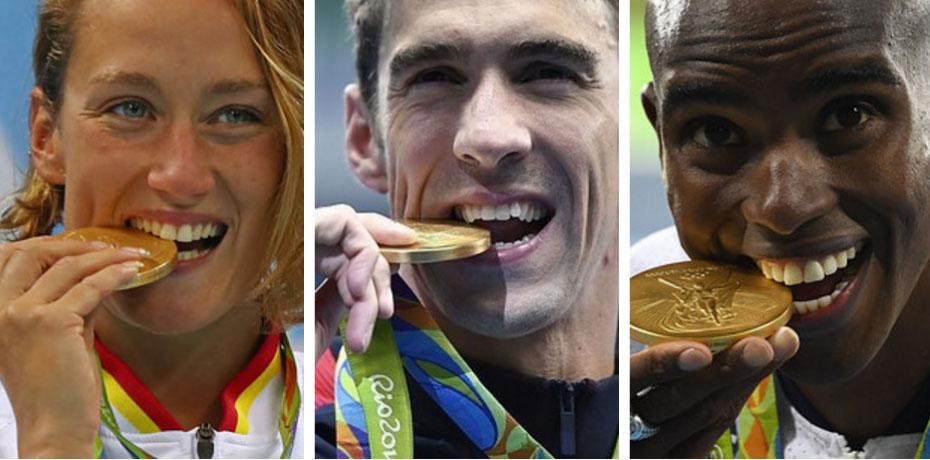 網疑惑「為什麽奧運選手都要咬獎牌」?專家出面揭露「隱藏真相」:他們是被逼的