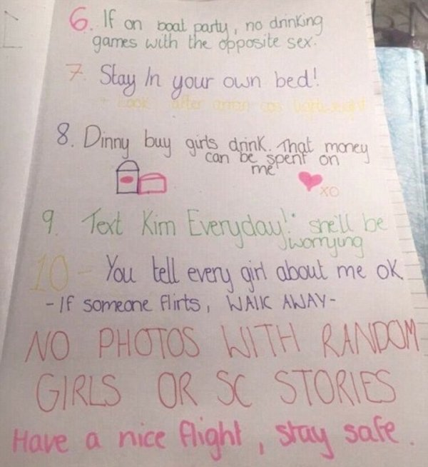 他的超瘋狂女友列出「預防男友出國玩太嗨10項規定」,看到#2我覺得很快這男生就會自殺了...
