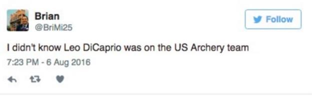 大家原本還以為李奧納多在拍新戲,但一看到美國弓箭手出場大家都驚呼「李奧是什麼時候參加奧運的?!」