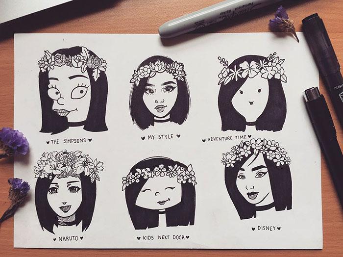 她挑戰大家用不同的名畫風來畫自己的作品,#26長髮公主宮崎駿風格太可愛了!(26張)