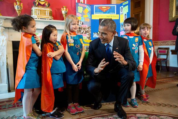 Whether he's meeting with mini-superheroes...