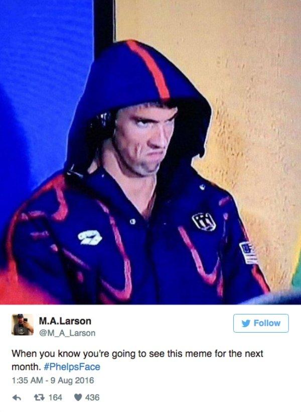 金牌選手麥克費爾普斯被拍到比賽前的「超凶狠臉狂瞪對手」,結果就被網友們拿來瘋狂PS囉!