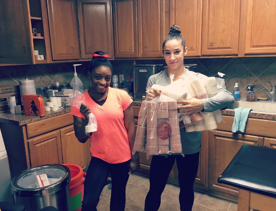 This picture showing how much tape Simone Biles needs vs. how much tape Aly Raisman needs: