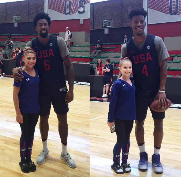 This picture of basketballer players Jimmy Butler and Deandre Jordan with gymnasts Ragan Smith and Ashton Locklear: