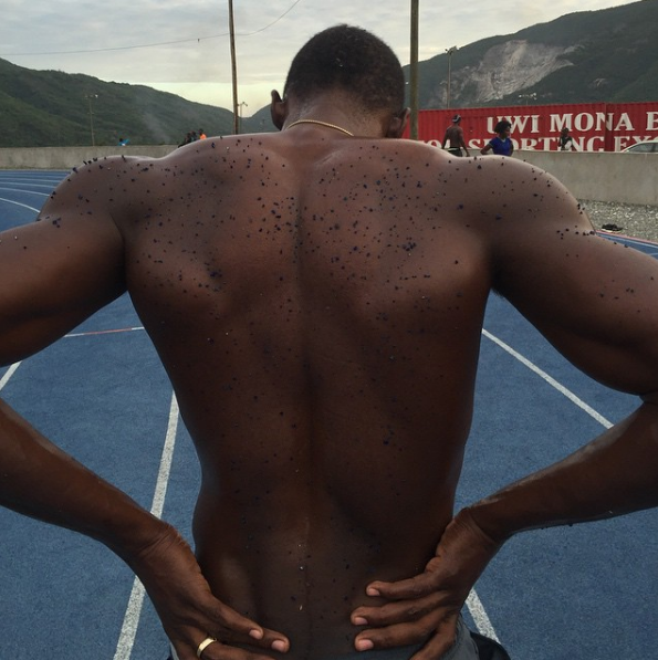 This picture of Usain Bolt covered in literal track after a day of practice:
