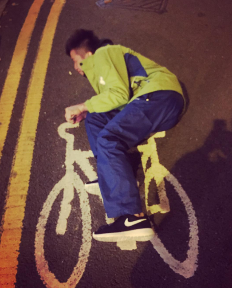 And this picture of Taiwaneese gymnast Chih Kai Lee riding a bike:
