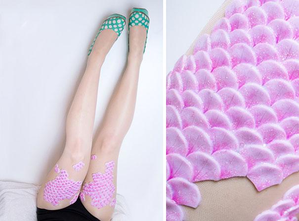 這名設計師在絲襪上放上了彩色的鱗片,第3款會讓很多人的「美人魚夢」成真!