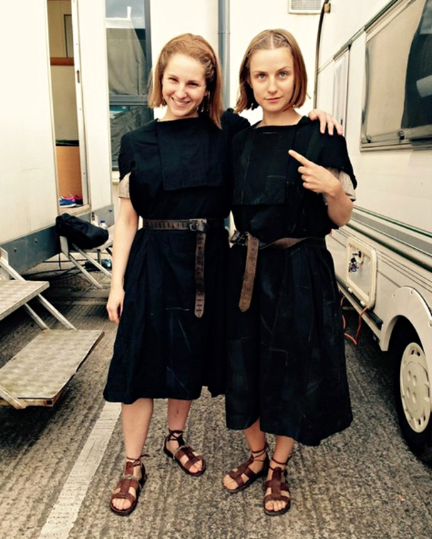 Faye Marsay With Her Stunt Double Casey Michaels On The Set Of Game Of Thrones