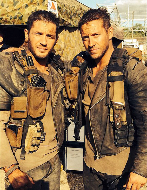 Tom Hardy And Stunt Double Jacob Tomuri On The  Set Of Mad Max: Fury Road