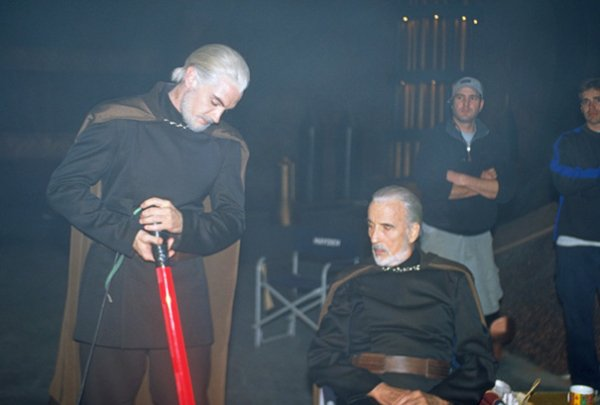 Sir Christopher Lee With His Stunt Double On The Set Of Star Wars: Attack Of The Clones