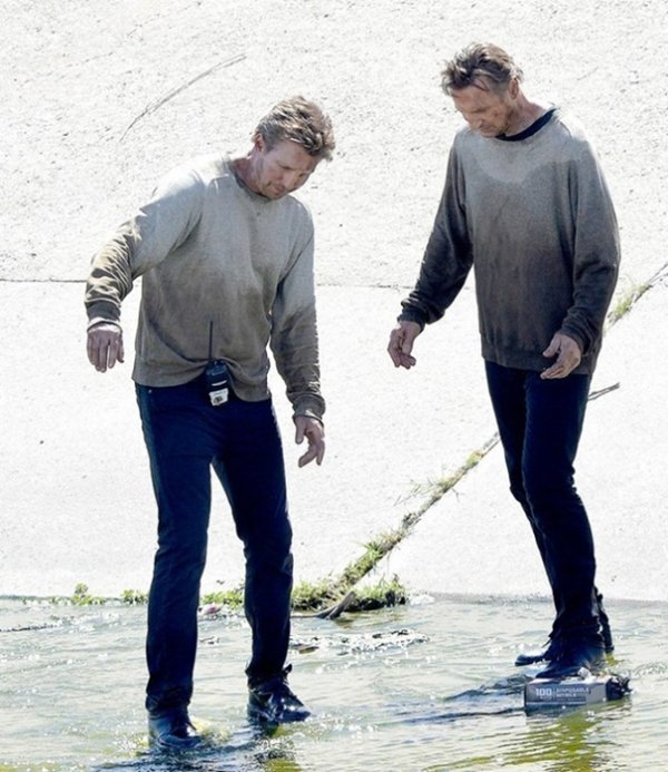Liam Neeson And His Stunt Double Mark Vanselow On The Set Of Taken 3