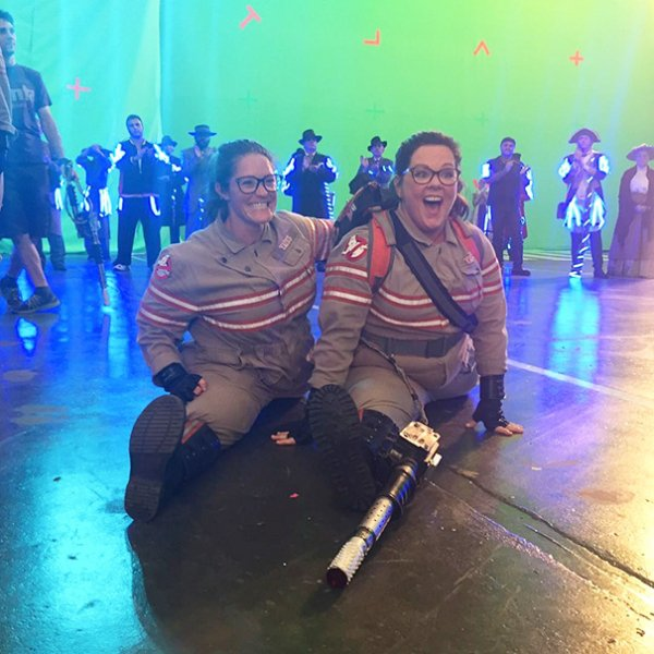 Melissa McCarthy With Her Stunt Double Luci Romberg On The Set Of Ghostbusters