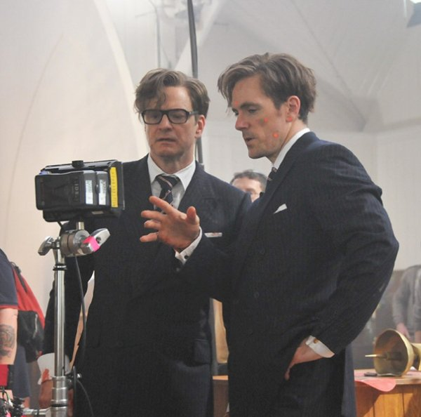 Colin Firth With His Stunt Double Rick English On The Set Of Kingsman