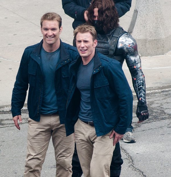 Chris Evans With His Stunt Double On The Set Of Captain America 2: The Winter Soldier