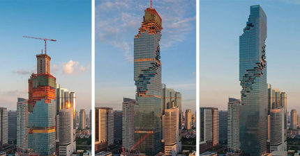 泰國最高的大樓剛剛開幕怎麼看都覺得「好像壞掉了」,但一到晚上開燈時...OMG!