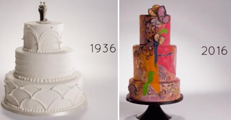 3分鐘看完「過去100年婚禮蛋糕進化史」,我還是覺得1936年的最浪漫!