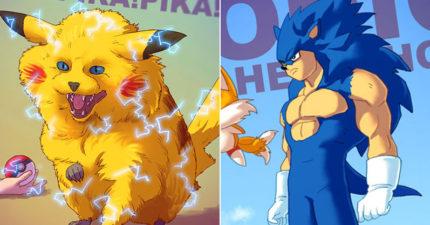 22張把童年經典動漫遊戲全部都變猛炸的「超帥的同人畫」!原子小金剛變鋼鐵人超帥!