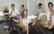 老師上課上到一半發現這名很專心的學生傳出了「打呼聲」,走過去看後直接理智線狂斷...