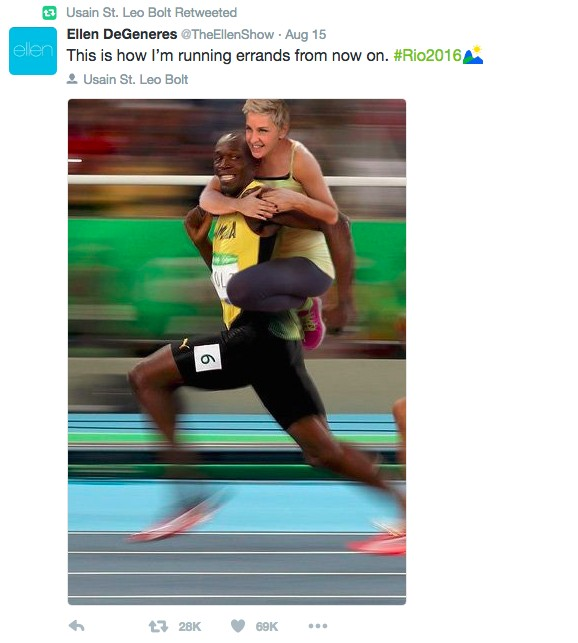 美國知名主持人「艾倫」在推特上Po這張「騎在波爾特身上」照後,已經引發大批網友砲火全開大罵了。