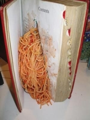 When you snuggle into bed at the end of a long day and flip open that book on your nightstand and BAM! spaghetti.