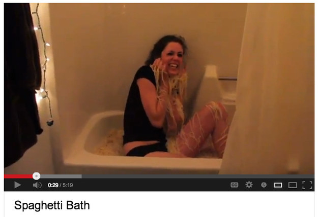 Every time you go to take a bath, SPAGHETTI.
