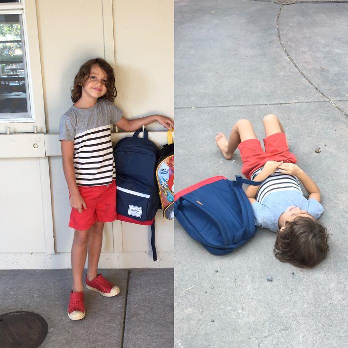 22張小孩第一天上學「上課前 VS 放學後」的天堂地獄落差對比照