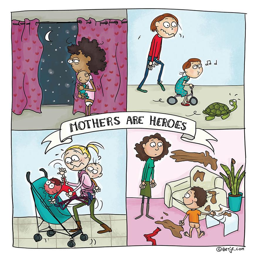 有3個小孩的媽媽畫出12種「爸媽每天都懂的掙扎」。看完後你會想回家大力擁抱他們一下!