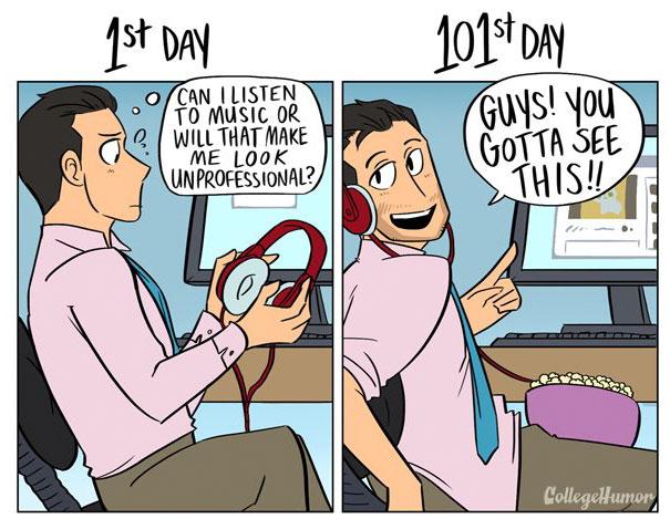 6張可愛漫畫寫實的呈現「第1天」上班跟「第101天」的爆笑差別