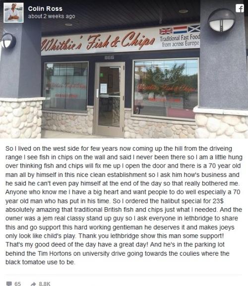 這名7旬老人終於開了夢想中的餐廳卻沒人上門,直到這則短文讓店內「忽然500人出現大排長龍」!