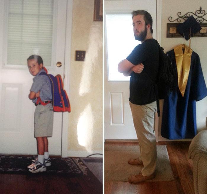 28個孩子們「上學第一天 VS 最後一天」的溫馨逗趣照,唯一沒變得就是爸媽的愛!