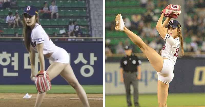 韓國正妹為棒球比賽開球,但由於「衣服好像小了一號」讓鼻血差點亂噴...
