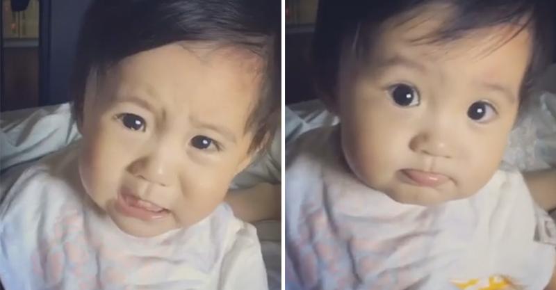 修杰楷的女兒因為吃不到奶露出這超可愛的「暴怒臉」,讓13萬網友萌昏!