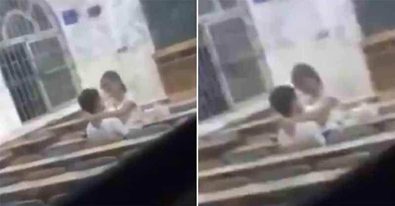 飢渴男女被拍到在無人的教室裡「直接開戰」,讓網友們懷疑那天到底「上了什麼課?」