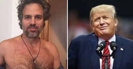 好萊塢巨星們集合拍片請大家一起投票,如果川普沒當選「浩克」下個《復仇者》會全裸出場喔!