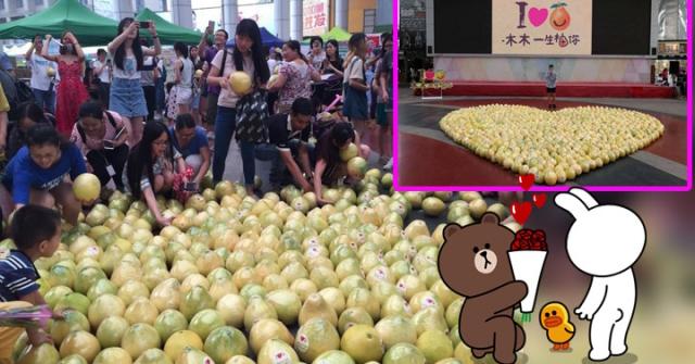 這位男大生出奇招「用999顆柚子擺成愛心告白」,但最後爽翻的是民眾!