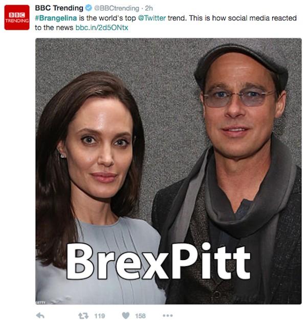 25個網友對於「布萊德彼特跟安潔莉娜裘莉離婚」的爆笑回應,網友說「小布與泰勒絲!」