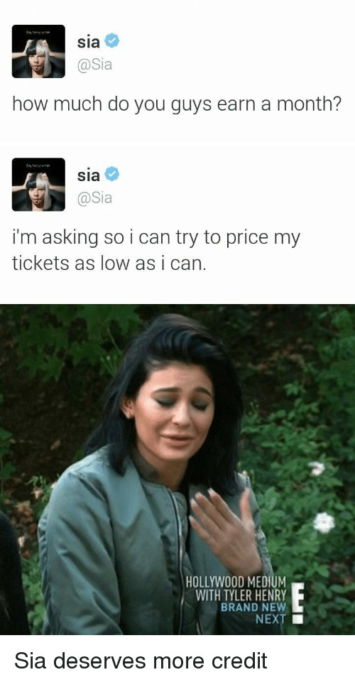 澳洲歌手Sia在網上問歌迷「大家每個月賺多少錢啊?」,善良到歌迷都感動流淚了...