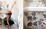 服裝設計師把衣服靈感運用在廁所牆壁上,完成後美到變成一間「美術館」!