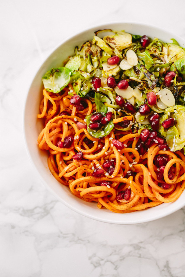 Brussels Sprouts and Sweet Potato Noodle Bowl