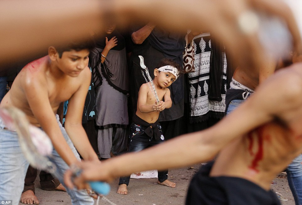 Young children were among those who took place in a Muharram procession in Ahmadabad, India, on Sunday