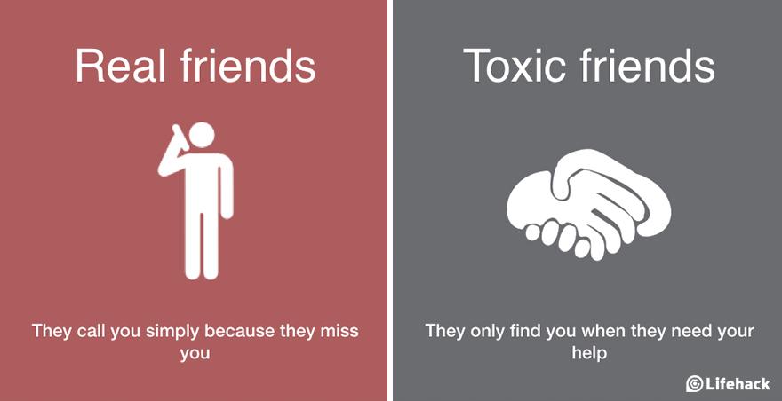 8種「讓你能分辨真朋友和毒朋友」的生命智慧比對圖。